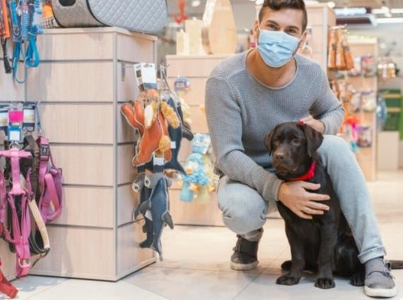 un cane e il suo padrone in un pet shop